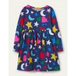 Long Sleeve Fun Jersey Dress - Starboard Blue Rainbow Magic
