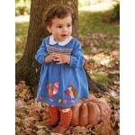 Applique Twill Smocked Dress - Elizabethan Blue Woodland
