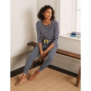 Alba Jersey Pajama Bottoms - Navy and Ivory Stripe