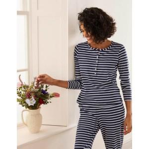Alba Jersey Pajama Top - Navy and Ivory Stripe