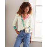 Oakley Cashmere V-Neck Sweater - Ivory Colourblock