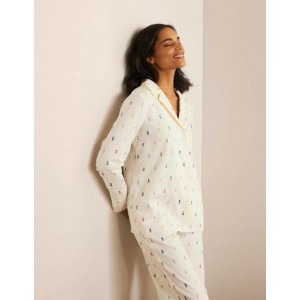 Janie Pajama Shirt - Ivory, Pineapple Rainbow