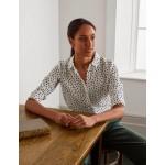 Silk Shirt - Ivory and Navy, Dot