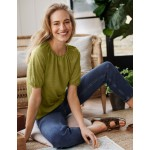 Tabitha Linen Jersey Top - Pea