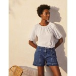 Tabitha Linen Jersey Top - White