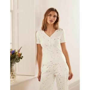 Short Sleeve Henley Pyjama Top - Ivory, Scattered Spot