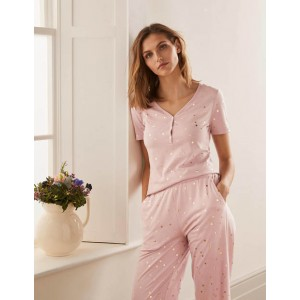 Short Sleeve Henley Pyjama Top - Milkshake, Scattered Spot