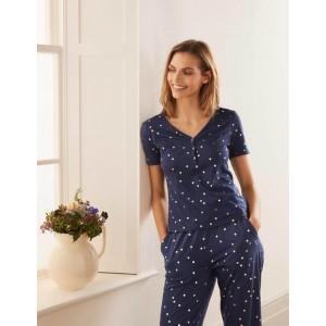 Short Sleeve Henley Pyjama Top - Navy, Scattered Spot