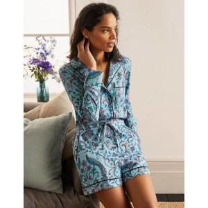 Janie Pyjama Shorts - Frost, Fanciful Peacock