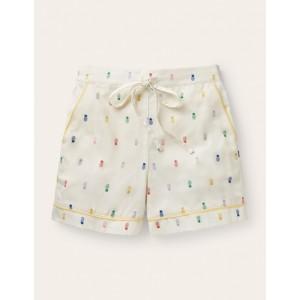 Janie Pyjama Shorts - Ivory, Pineapple Rainbow