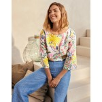 Laurie Linen Top - Ivory, Tropical Charm