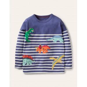 Applique Breton T-shirt - Starboard Blue/Ivory Dinos