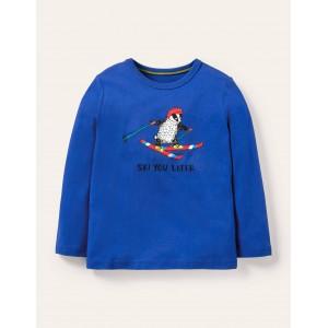 Graphic Animal T-shirt - Brilliant Blue Ski You Later