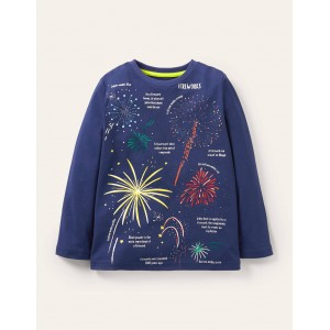 Glowing Magical T-shirt - College Navy Fireworks