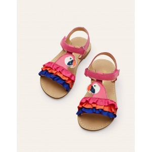 Novelty Leather Sandals - Multi Parrot