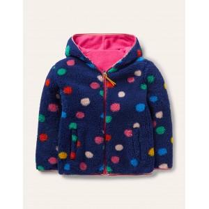 Cosy Reversible Fleece Hoodie - Starboard Blue Multi Spot