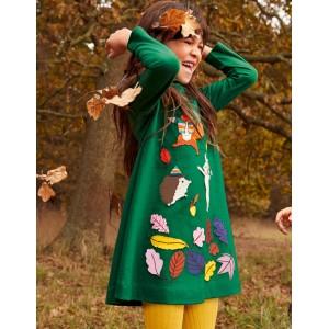 Big Applique Jersey Dress - Forest Green Animals