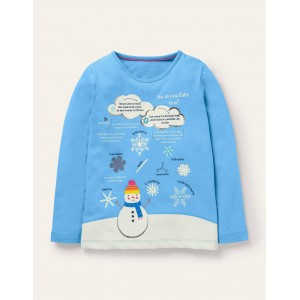 Fun Facts T-shirt - Surfboard Blue Snowflakes