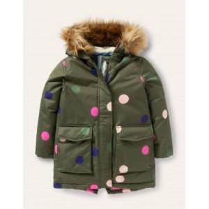 Cosy Waterproof Coat - Khaki Green Multi Spot