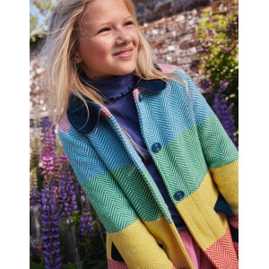 Colourful Wool Coat - Multi Rainbow