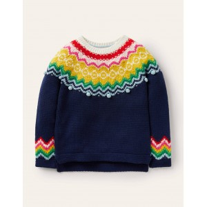 Cosy Fair Isle Sweater - Starboard Blue