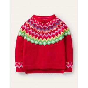 Cosy Fair Isle Sweater - Rockabilly Red