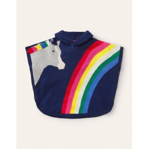 Horse Knitted Poncho - Starboard Blue Rainbow