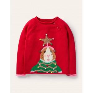 Fun Festive Sweater - Rockabilly Red Guinea Pig