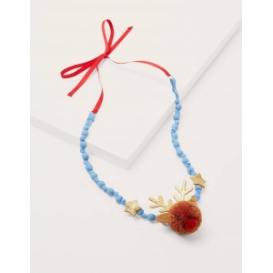 Fabric Necklace - Red/Pink Reindeer