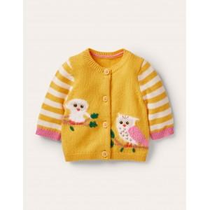 Animal Logo Cardigan - Honeycomb Yellow Owls