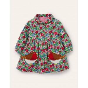 Long-sleeved Cord Shirt Dress - Ivory Vintage Bloom Robins