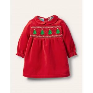 Velvet Smocked Dress - Rockabilly Red