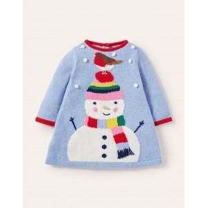 Festive Knitted Dress - Bright Bluebell Snowman