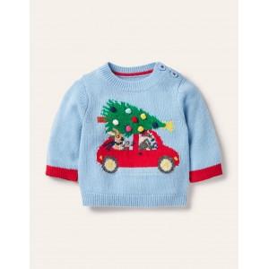 Christmas Logo Sweater - Surfboard Blue Animals