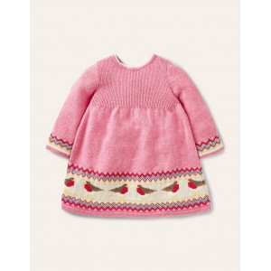 Fair Isle Knitted Dress - Formica Pink Robins