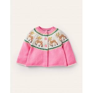 Fair Isle Cardigan - Formica Pink Reindeer