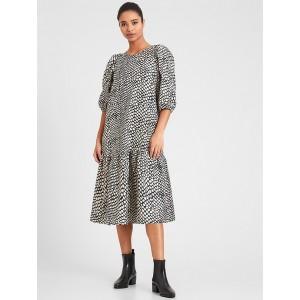 Volume-Sleeve Midi Dress
