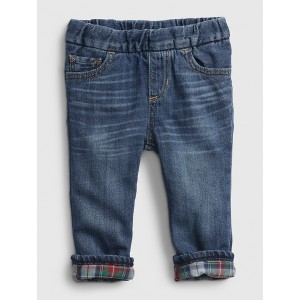 Baby Plaid Lined Straight Pull-On Jeans