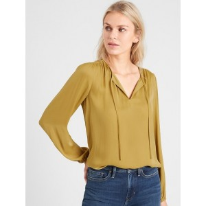 Petite Shirred Tie-Front Blouse