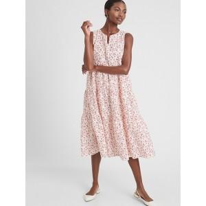 Petite Linen Blend Tiered Midi Dress