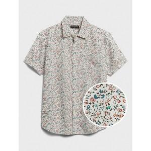 Short-Sleeve Slim-Fit Linen-Blend Shirt