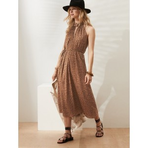 Twist-Neck Satin Midi Dress