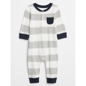 Baby Stripe Henley One-Piece