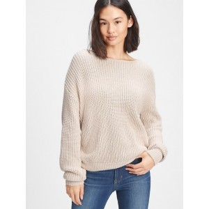 Ribbed Crossback Crewneck Sweater