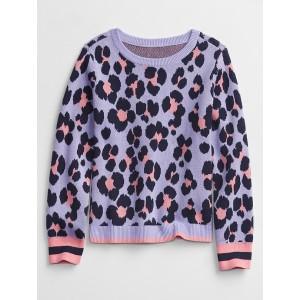 Kids Leopard Print Crewneck Sweater