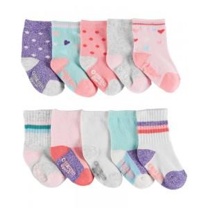 10-Pack Patterned Crew Socks