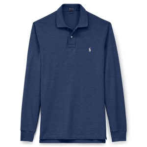 Classic Fit Mesh Long Sleeve Polo Shirt