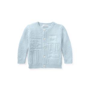 Contrast Knit Cotton Cardigan