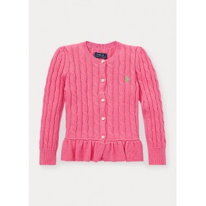 Cable Peplum Cotton Cardigan