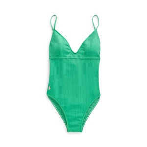 Ribbed One-Piece Swimsuit Leaf